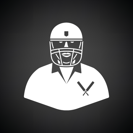 Cricket player icon. Black background with white. Vector illustration.