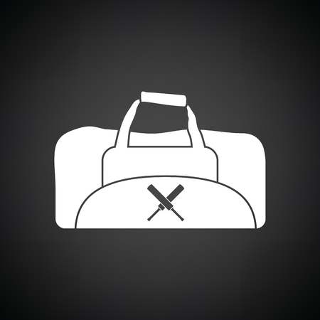 duffel: Cricket bag icon. Black background with white. Vector illustration. Illustration