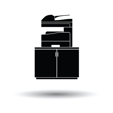 multifunction printer: Copying machine icon. White background with shadow design. Vector illustration.