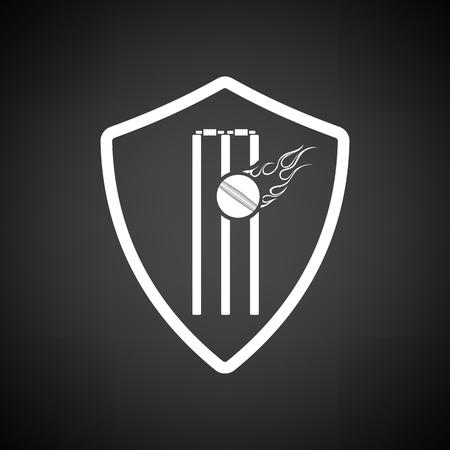 Icône d'emblème de bouclier de cricket. Fond noir avec du blanc. Illustration vectorielle