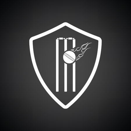Cricket shield emblem icon. Black background with white. Vector illustration.