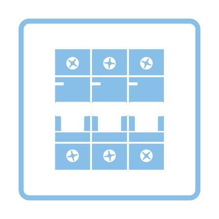 Circuit breaker icoon. Blauw frame ontwerp. Vector illustratie. Vector Illustratie