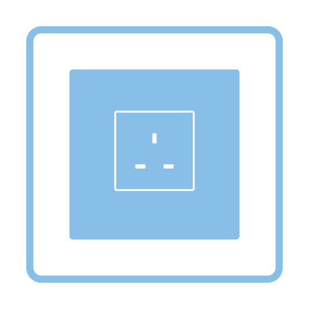 Icône de prise électrique Grande-Bretagne. Cadre bleu. Illustration vectorielle