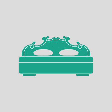 kingsize: King-size bed icon. Gray background with green. Vector illustration. Illustration