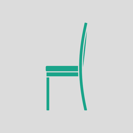 wood chair: Modern chair icon. Gray background with green. Vector illustration. Illustration
