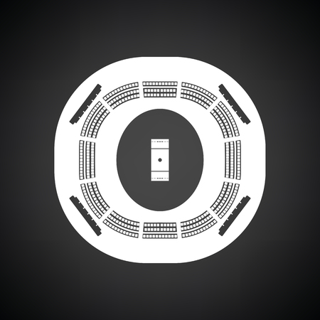 Cricket stadium icon. Black background with white. Vector illustration.