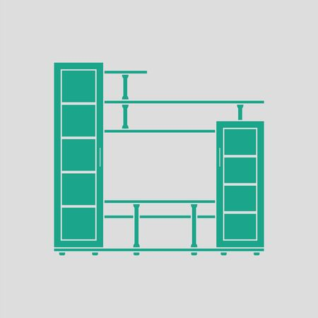 living room wall: Media furniture icon. Gray background with green. Vector illustration.