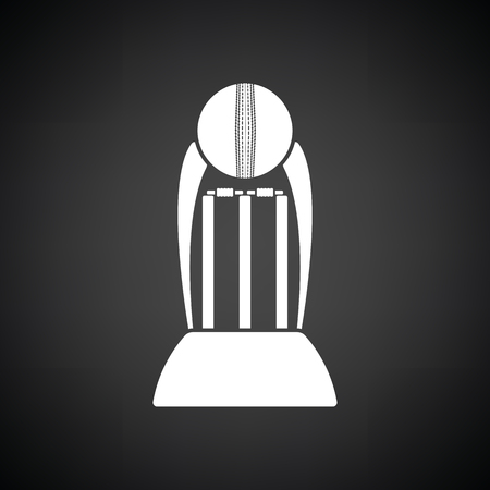 Cricket cup icon. Black background with white. Vector illustration.