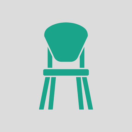 wood chair: Child chair icon. Gray background with green. Vector illustration.