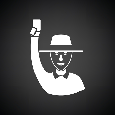 televised: Cricket umpire with hand holding card icon. Black background with white. Vector illustration. Illustration