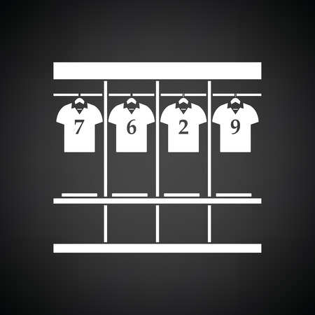 Locker room icon. Black background with white. Vector illustration. Vettoriali