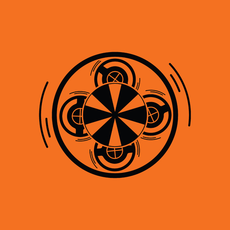 Carousel top view icon. Orange background with black. Vector illustration.