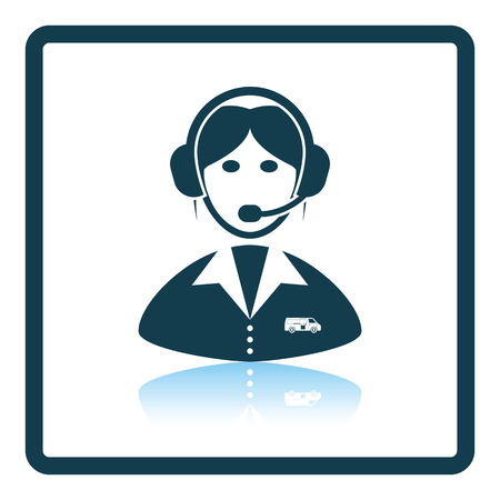 Logistic dispatcher consultant icon. Shadow reflection design. Vector illustration.