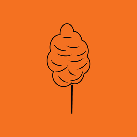 Cotton candy icon. Orange background with black. Vector illustration.