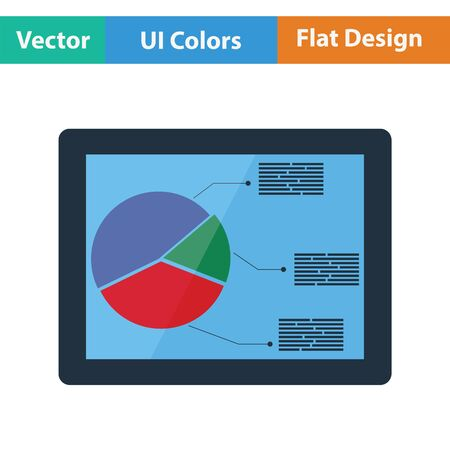 Tablet with analytics diagram icon. Flat design. Vector illustration.