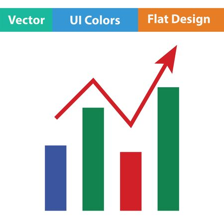 Analytics chart icon. Flat design. Vector illustration.