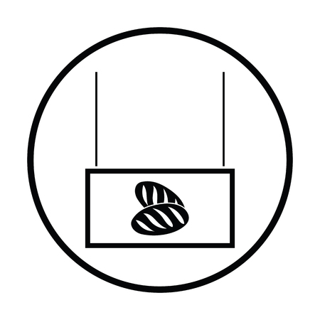 bake sale sign: Bread market department icon. Thin circle design. Vector illustration.
