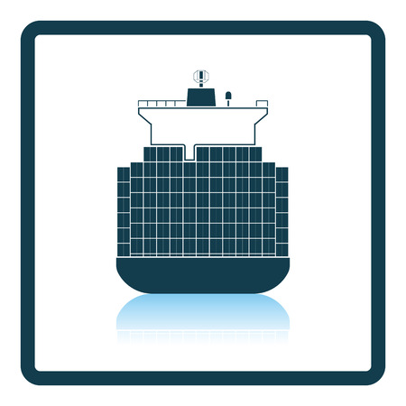 bulk carrier: Container ship icon. Shadow reflection design. Vector illustration.