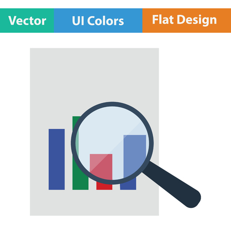 magnificent: Magnificent glass on paper with chart icon. Flat design. Vector illustration. Illustration