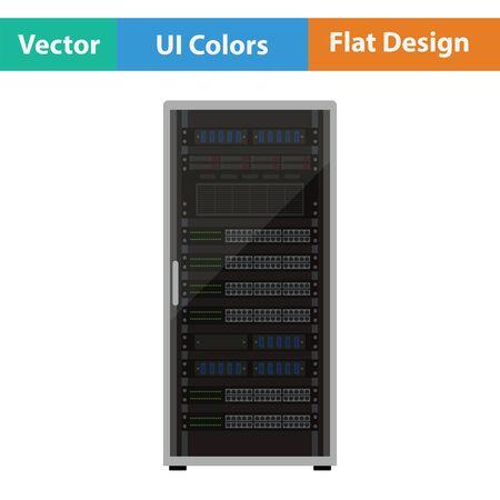 storage device: Server rack icon. Flat design. Vector illustration.