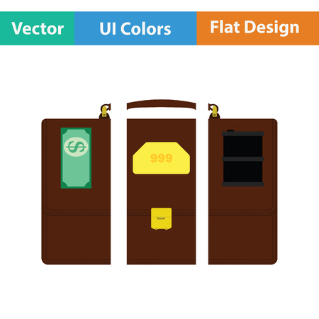 oil and gas industry: Oil, dollar and gold dividing briefcase concept icon. Flat design. Vector illustration.
