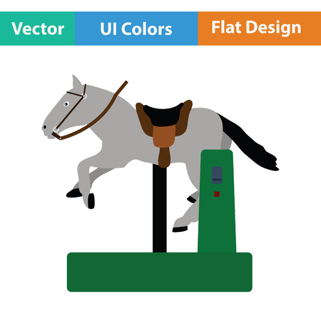 Horse machine icon. Flat design. Vector illustration.