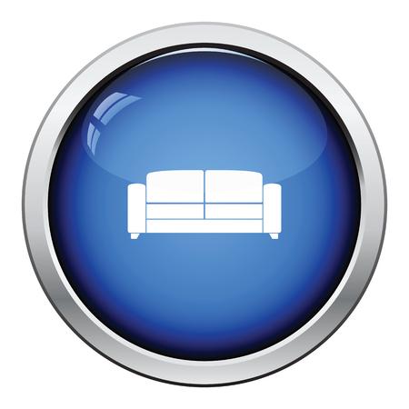 modern living room: Office sofa icon. Glossy button design. Vector illustration.
