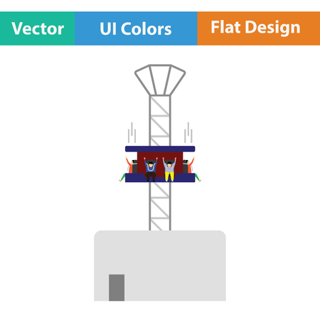 Free-fall ride icon. Flat design. Vector illustration. Illustration