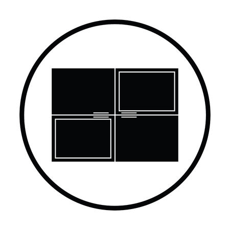 Wall cabinet icon. Thin circle design. Vector illustration.