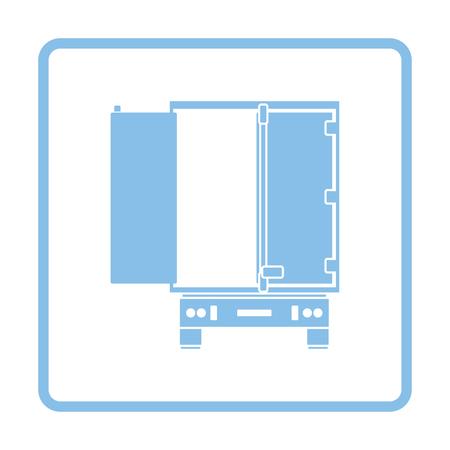 heavy vehicle: Truck trailer rear view icon. Blue frame design. Vector illustration. Illustration