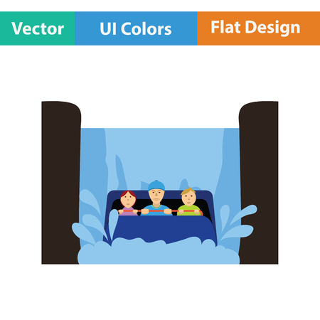 Water boat ride icon. Flat design. Vector illustration.