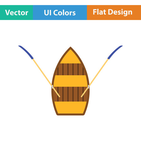 Paddle boat icon. Flat design. Vector illustration.