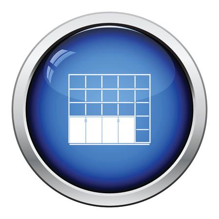 furniture store: Office cabinet icon. Glossy button design. Vector illustration. Illustration