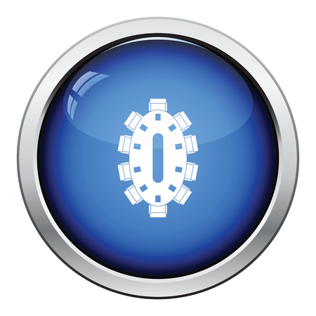 Negotiating table icon. Glossy button design. Vector illustration.