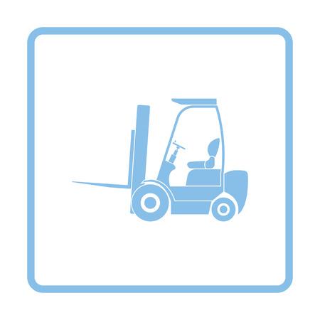 truck driver: Warehouse forklift icon. Blue frame design. Vector illustration. Illustration