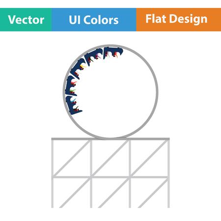 Roller coaster loop icon. Flat design. Vector illustration. Illustration