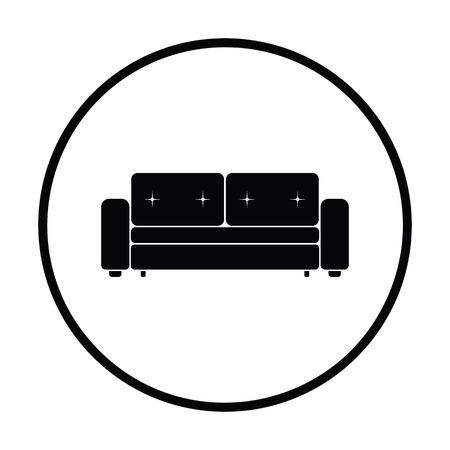 modern living room: Home sofa icon. Thin circle design. Vector illustration.