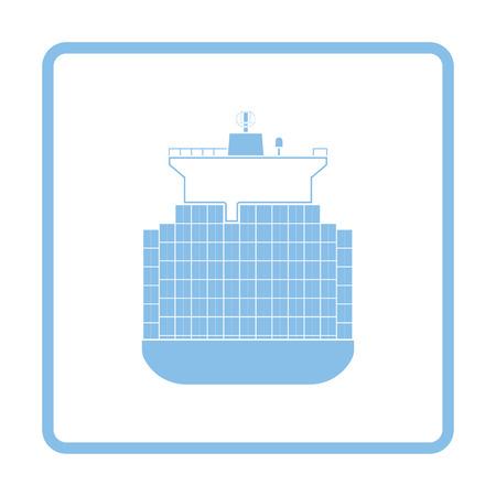 bulk carrier: Container ship icon. Blue frame design. Vector illustration.