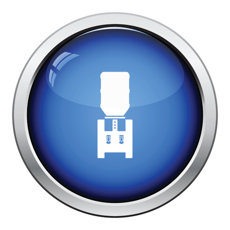 cooler: Office water cooler icon. Glossy button design. Vector illustration.