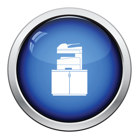 multifunction printer: Copying machine icon. Glossy button design. Vector illustration.
