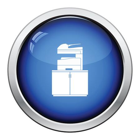 Copying machine icon. Glossy button design. Vector illustration.