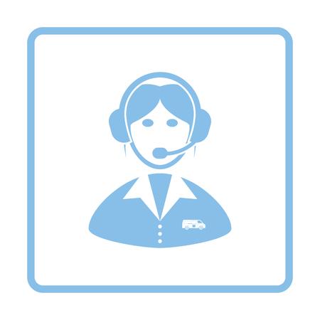 dispatcher: Logistic dispatcher consultant icon. Blue frame design. Vector illustration.