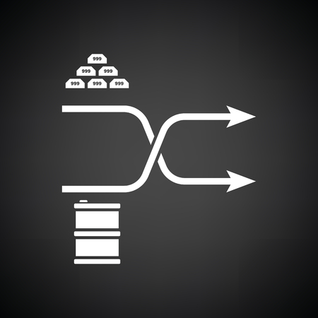 oil and gas industry: Gold and oil comparison chart icon. Black background with white. Vector illustration.