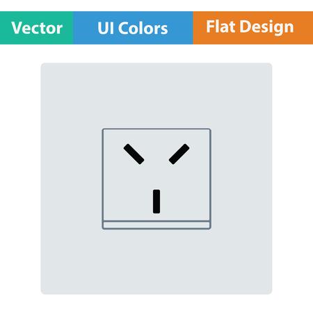 electronic circuit: Israel electrical socket icon. Flat design. Vector illustration.