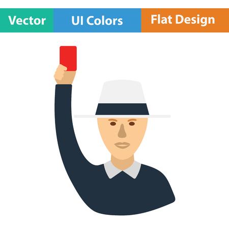 cricket stump: Cricket umpire with hand holding card icon. Flat design. Vector illustration. Illustration