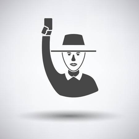 Cricket umpire with hand holding card icon on gray background, round shadow. Vector illustration. Illustration