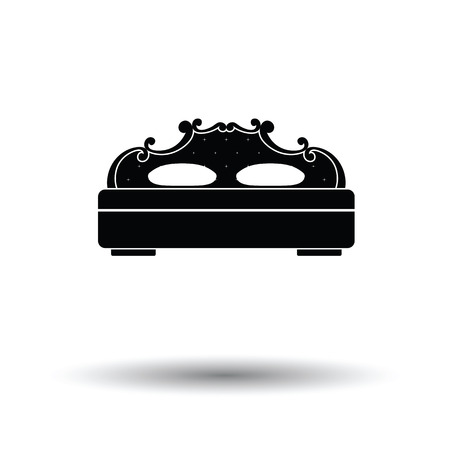 hotel rooms: King-size bed icon. White background with shadow design. Vector illustration.