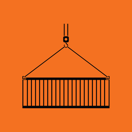 slings: Crane hook lifting container. Orange background with black. Vector illustration.