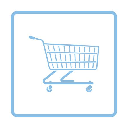 Supermarket shopping cart icon. Blue frame design. Vector illustration.