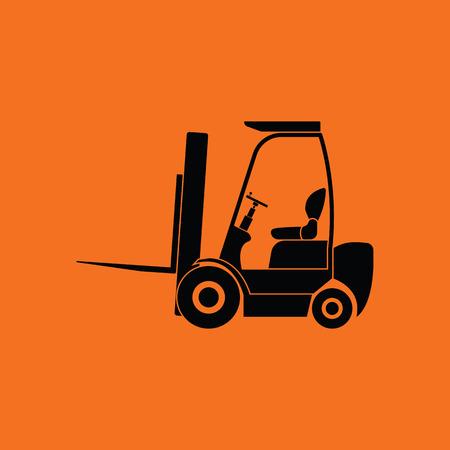 Warehouse forklift icon. Orange background with black. Vector illustration. Illustration